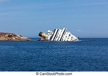 GIGLIO, ITALY - APRIL 28, 2012: Costa Concordia Cruise Ship...