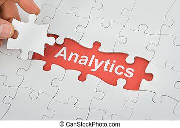 gigue, analytics, texte, puzzle, personne, tenue, sous, morceau, scie