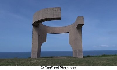 Gijon monument Front 30 - monument at Gijon city in Asturias...