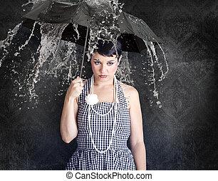 gil, état, déprimé, parapluie, beau