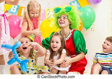 gilde, fødselsdag, børn, klovn, jolly