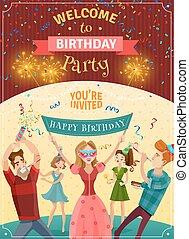 gilde, fødselsdag, kundgørelse, invitation, plakat
