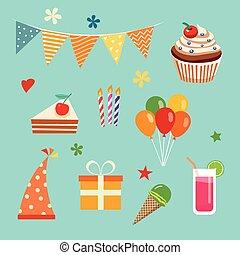 gilde, fødselsdag, sæt, glade
