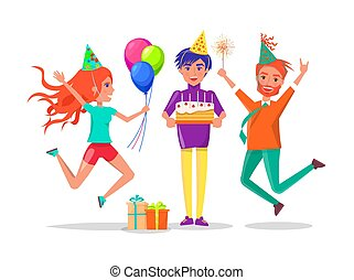 gilde, hatte, kage, guy, fødselsdag, kammerater