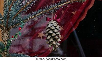 gilded, дерево, конус, сосна, рождество