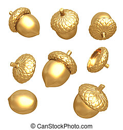 Gilded Acorns 3D
