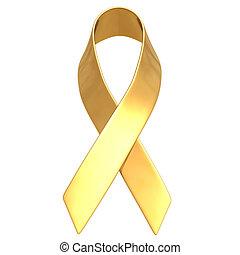 Gilded Awareness Ribbon 3D