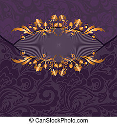 gilded decor on a purple