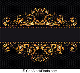 gilded decor - vintage gilded ornament on a black background
