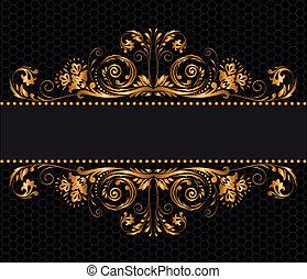 vintage gilded ornament on a black background