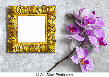 Gilded frame mockup with orchid