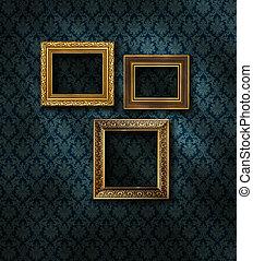 Gilded frames damask wall