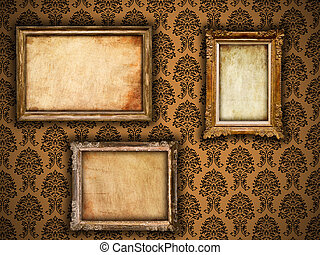 Gilded frames on vintage damask style wallpaper background and grunge retro paper inserts