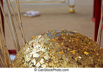 Gilded gold buried candlestick