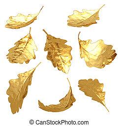 Gilded Oak Leaves 3D