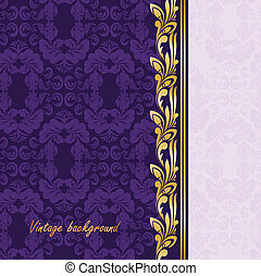 Gilded ornament on a purple