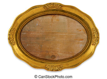 gilded oval frame with background isolated on white