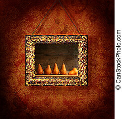 Gilded picture frame on antique wallpaper background