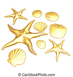 Gilded Starfish Shells & Sand Dollars 3D