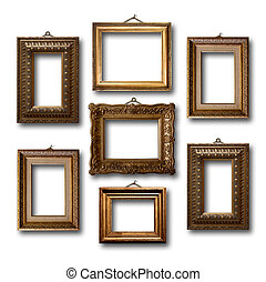 Gilded wooden frames for pictures on white isolated...