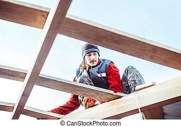 gilet, construction, séance homme