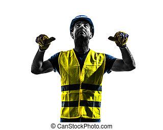 gilet, ouvrier, silhouett, construction, sécurité, signaler, retract, boom