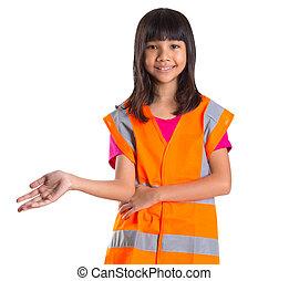 gilet, sécurité, jeune fille, asiatique