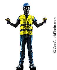 gilet, silhouette, étendre, ouvrier, construction, sécurité, signaler, boom
