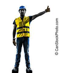 gilet, silhouette, augmentation, ouvrier, construction, sécurité, signaler, boom