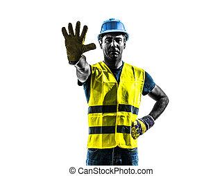 gilet, silhouette, ouvrier, arrêt, construction, sécurité, geste