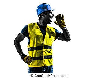 gilet, silhouette, ouvrier, construction, sécurité, crier