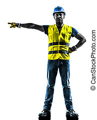 gilet, silhouette, ouvrier, construction, sécurité, signaler