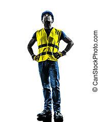 gilet, silhouette, ouvrier, haut, regarder, construction, sécurité