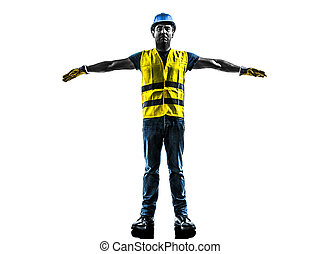 gilet, urgence, arrêt, ouvrier, silhoue, construction, sécurité, signaler