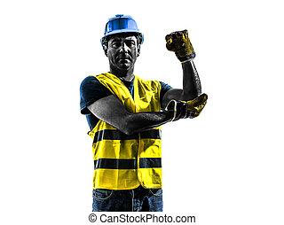 gilet, whipline, ouvrier, usage, silhouett, construction, sécurité, signaler