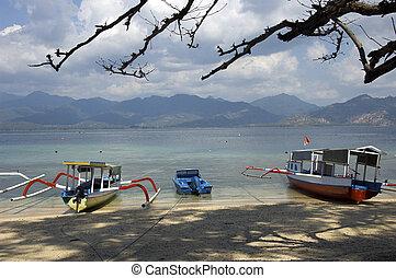 gili, bali, houten, bootjes, :, strand, eilanden, gekleurde