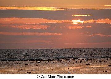 gili, landschap, indonesie, ondergaande zon , zee, eilanden