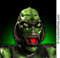 Gill Monster Up Close - An aquatic reptilian gill monster...