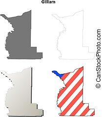 Gilliam County, Oregon outline map set - Gilliam County,...