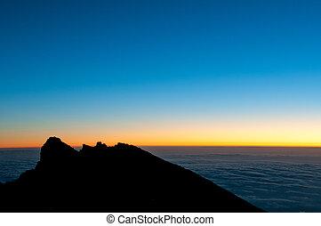 gillmans, punto, kilimanjaro, salida del sol