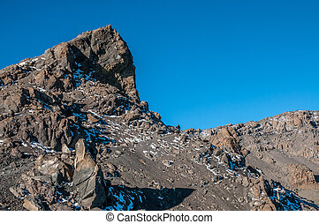 gilmans, kilimanjaro, terugkeren, trekkers, punt