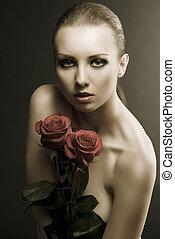 gilr's, chiave bassa, ritratto, con, rose, appresso, lei, seno