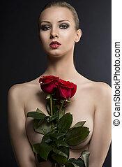 gilr's, chiave bassa, ritratto, con, rose, in, il, centro, di, lei, torace