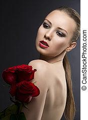 gilr's, chiave bassa, ritratto, con, rose, lei, è, girato, profilo