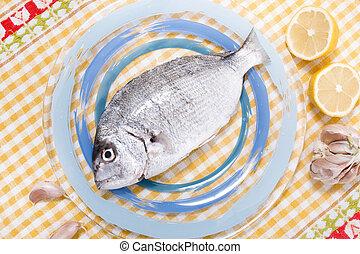 Gilt-head bream fish on a plate.