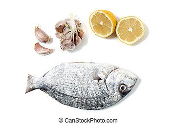 Gilt-head bream fish with lemon and garlic.