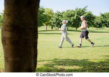 giltig äldre, folk, joggning, in, stad parkera