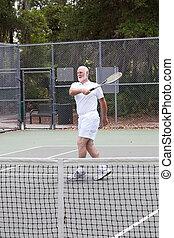 giltig äldre, man, -, tennis