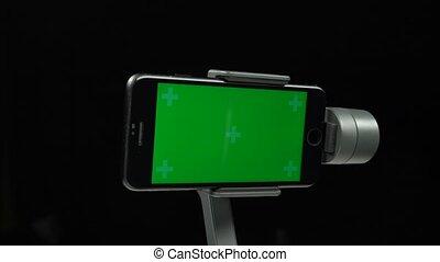 gimbal, ekran, zielony, stabilizator, steadicam, smartphone.