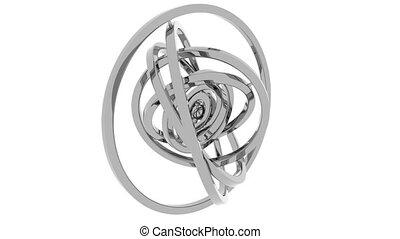 Gimbal made of grey polished metal. Balance or 3D motion...